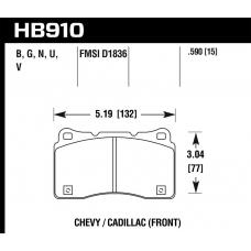 Колодки тормозные HB910B.590 Street 5.0 передние Lancer Evo V-X; SUBARU WRX STI; MEGAN RS; TESLA S