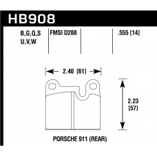 Колодки тормозные HB908G.555